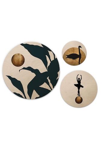 Wall-Art Mehrteilige Bilder »Goldene Monde - Kubistika Set«, (Set, 3 St.) kaufen