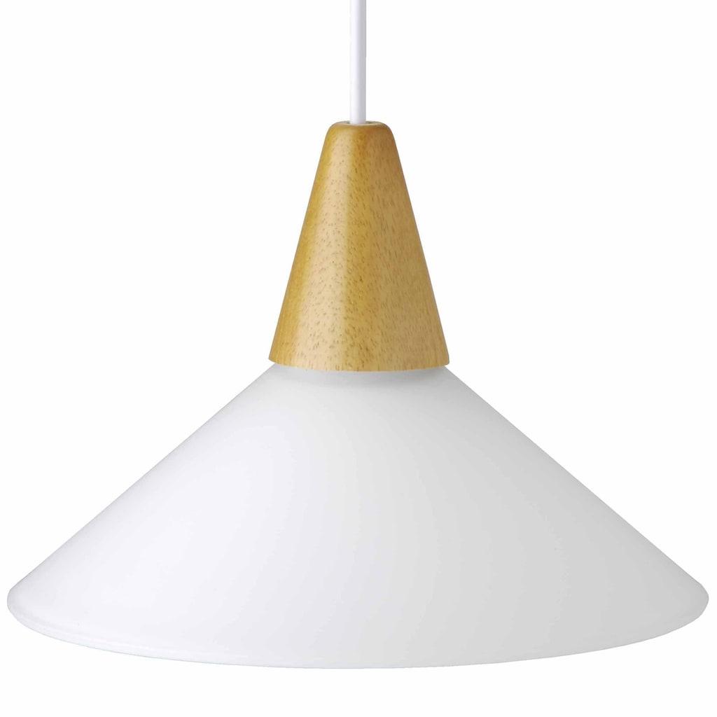Brilliant Leuchten Pastell Pendelleuchte 24cm weiß/buche