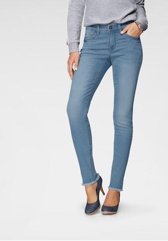 Arizona Skinny-fit-Jeans »knöchellang mit Fransensaum«, Mid Waist kaufen