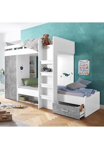 Hochbett, mit 2 Liegeflächen, Kleiderschrank und Regalen kaufen