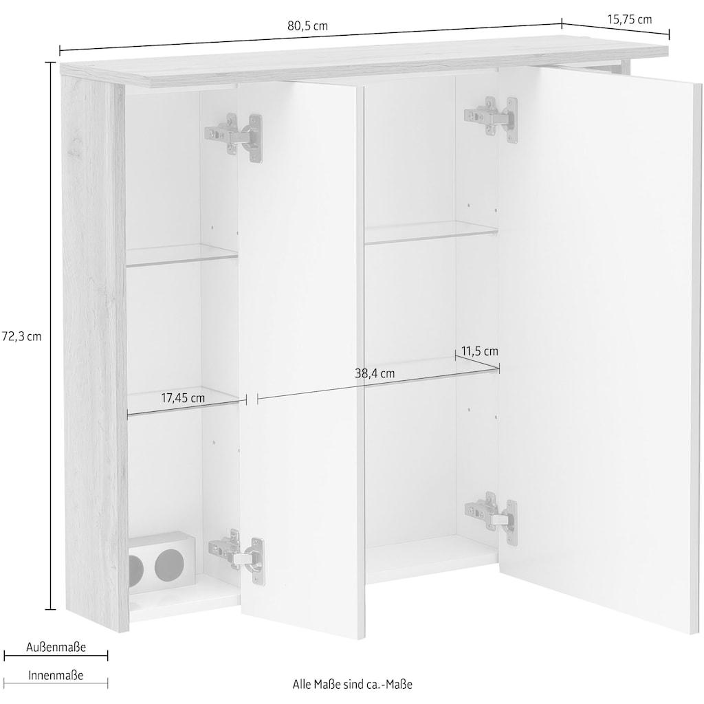 Schildmeyer Spiegelschrank »Nora«, Breite 80,5 cm, 3-türig, eingelassene LED-Beleuchtung, Schalter-/Steckdosenbox, Glaseinlegeböden, Made in Germany