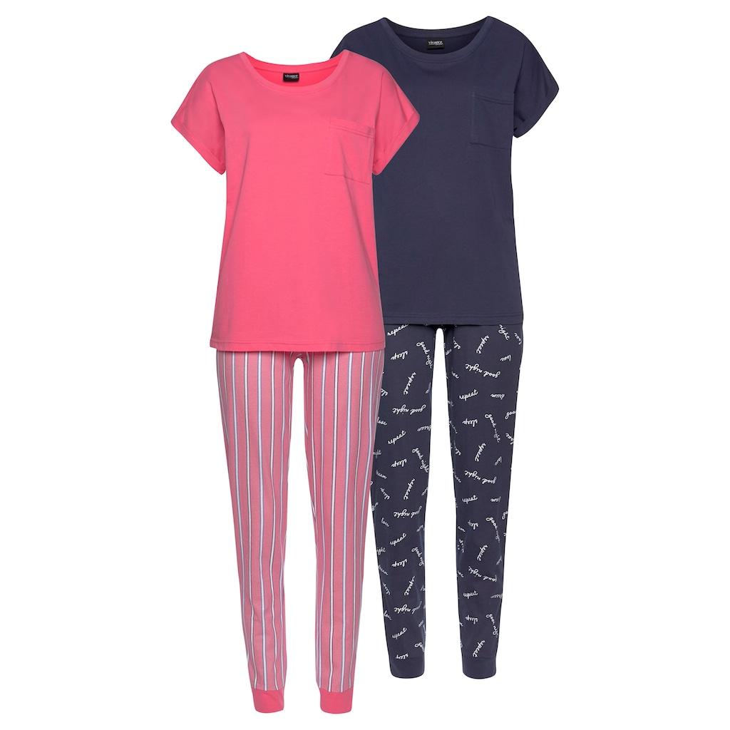 Vivance Dreams Pyjama, (2 Stück), mit Streifen- und Schriftdruck