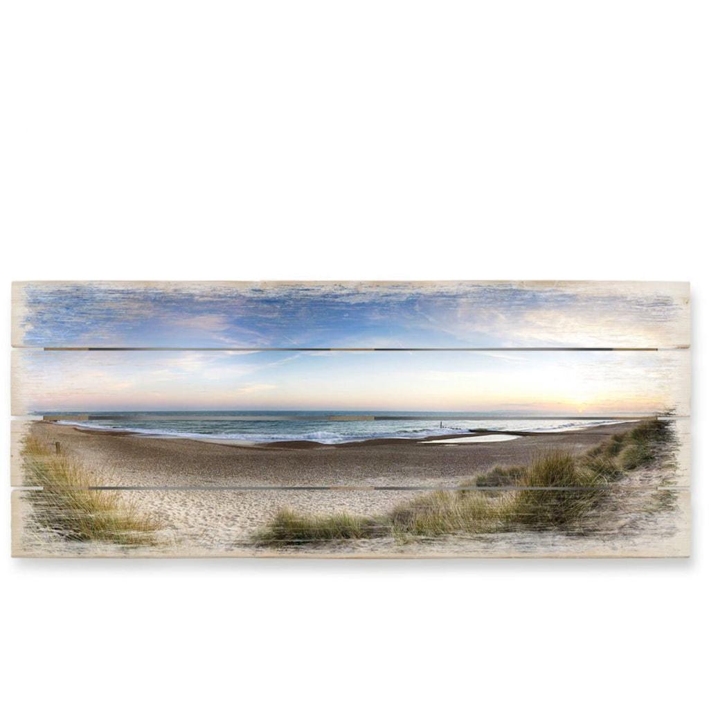 Wall-Art Holzbild »Strand Holzbild Küchen Wandbild«, (1 St.)
