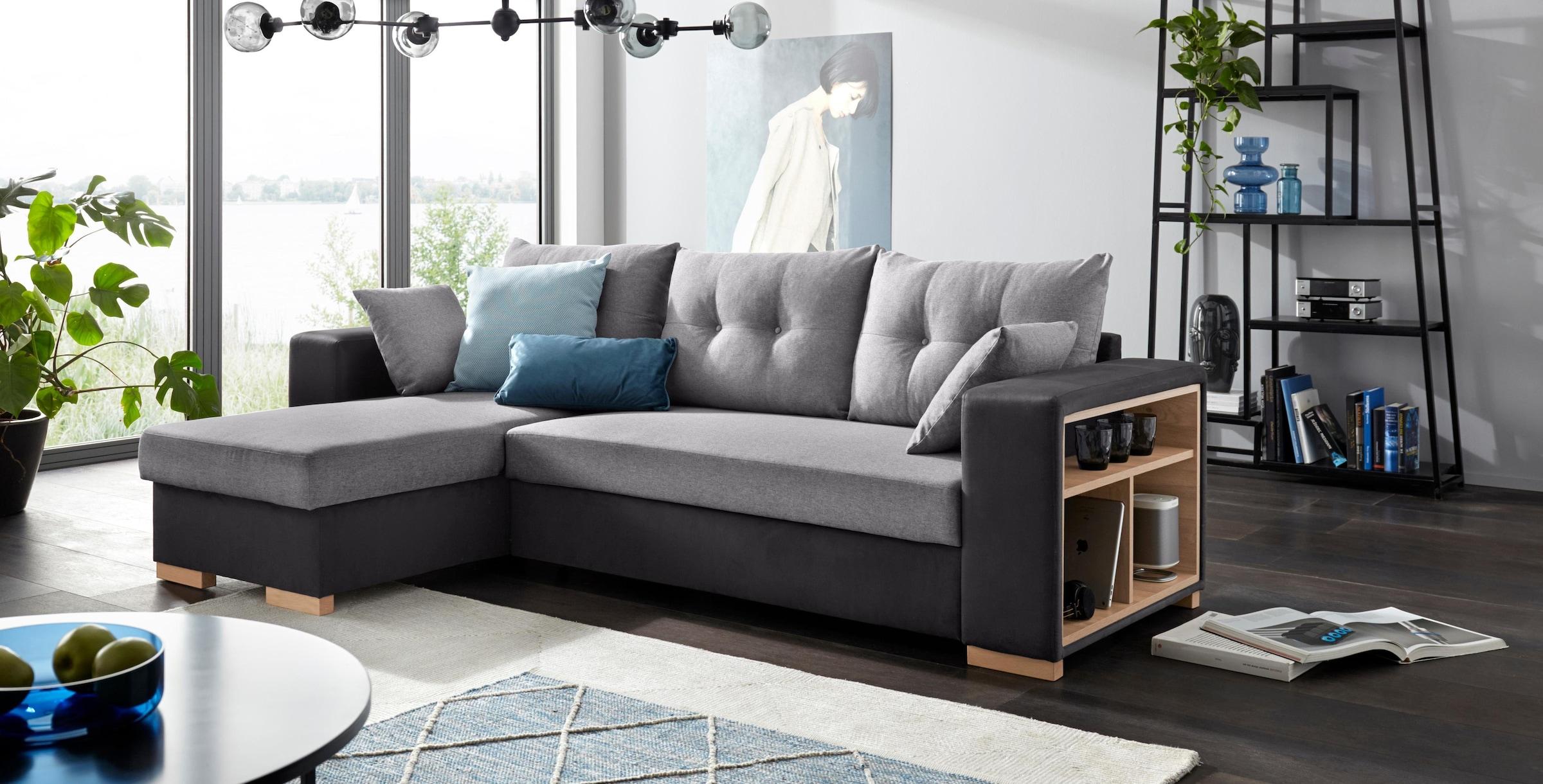 Möbel & Wohnaccessoires Eckcouch CHESS in grau Couch Möbel Wohnlandschaft Ecksofa Wohnzimmer Wohnzimmer