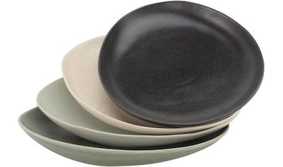 CreaTable Speiseteller »Pietra«, (Set, 4 St.), Steinzeug, jedes Stück ein Unikat kaufen