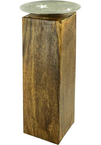 NOOR LIVING Gartenfigur »Mangosäule mit Dekoschale L, Mangoholz/Alu« kaufen