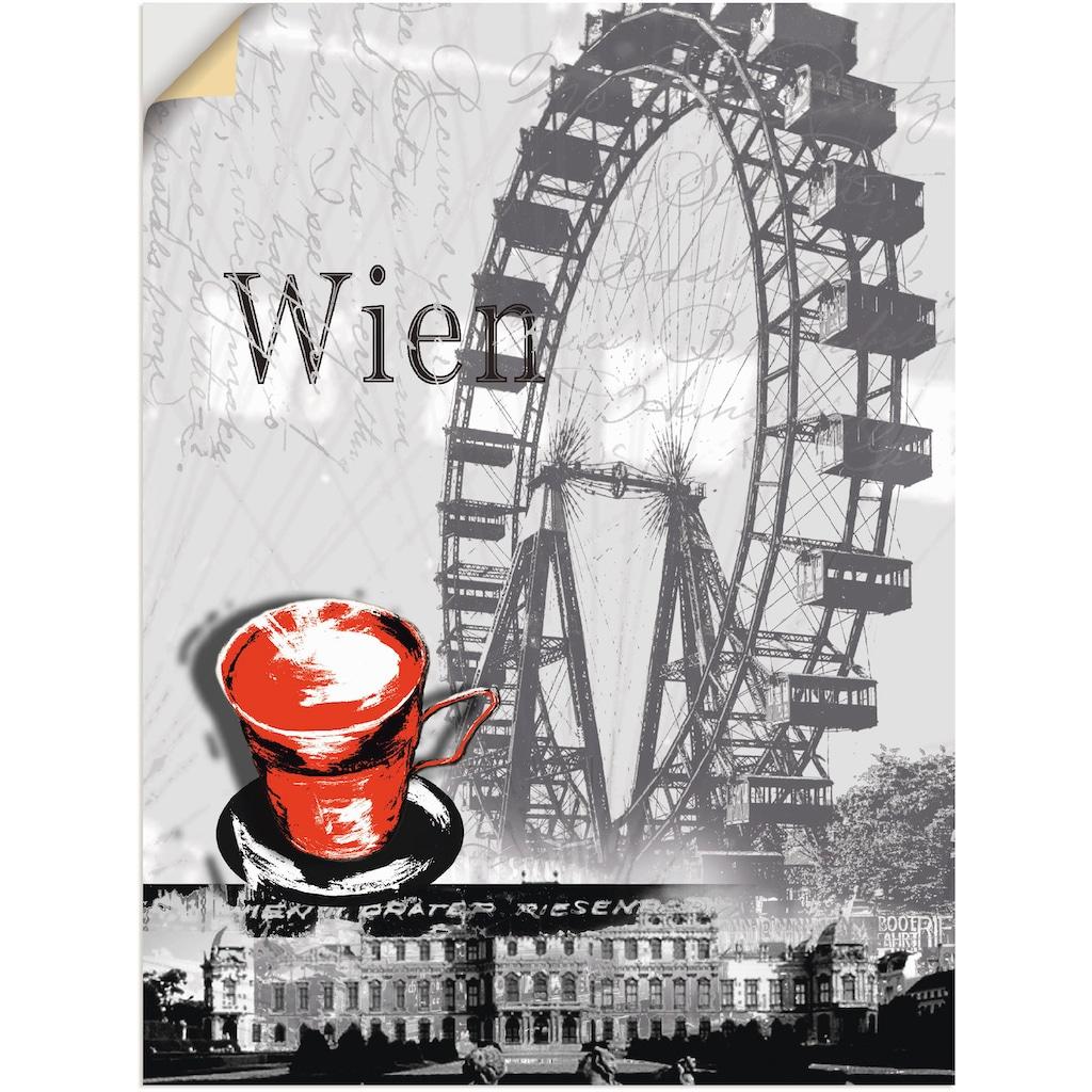 Artland Wandbild »Wien - Melange - Kaffee«, Gebäude, (1 St.), in vielen Größen & Produktarten - Alubild / Outdoorbild für den Außenbereich, Leinwandbild, Poster, Wandaufkleber / Wandtattoo auch für Badezimmer geeignet