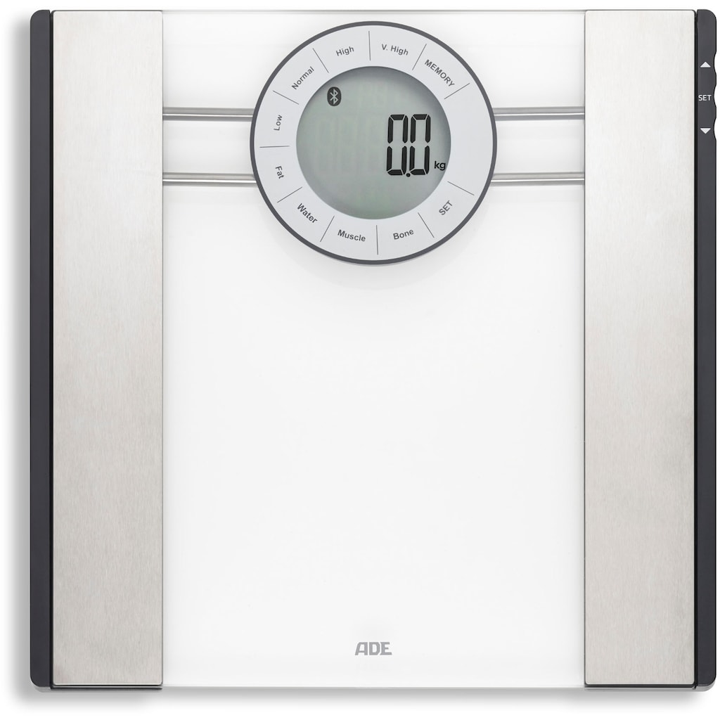 ADE Körper-Analyse-Waage »BA 1601«, Bluetooth Personenwaage mit App und Bluetooth zur Analyse von Gewicht, Körperfett, Körperwasser, Muskelmasse und BMI)