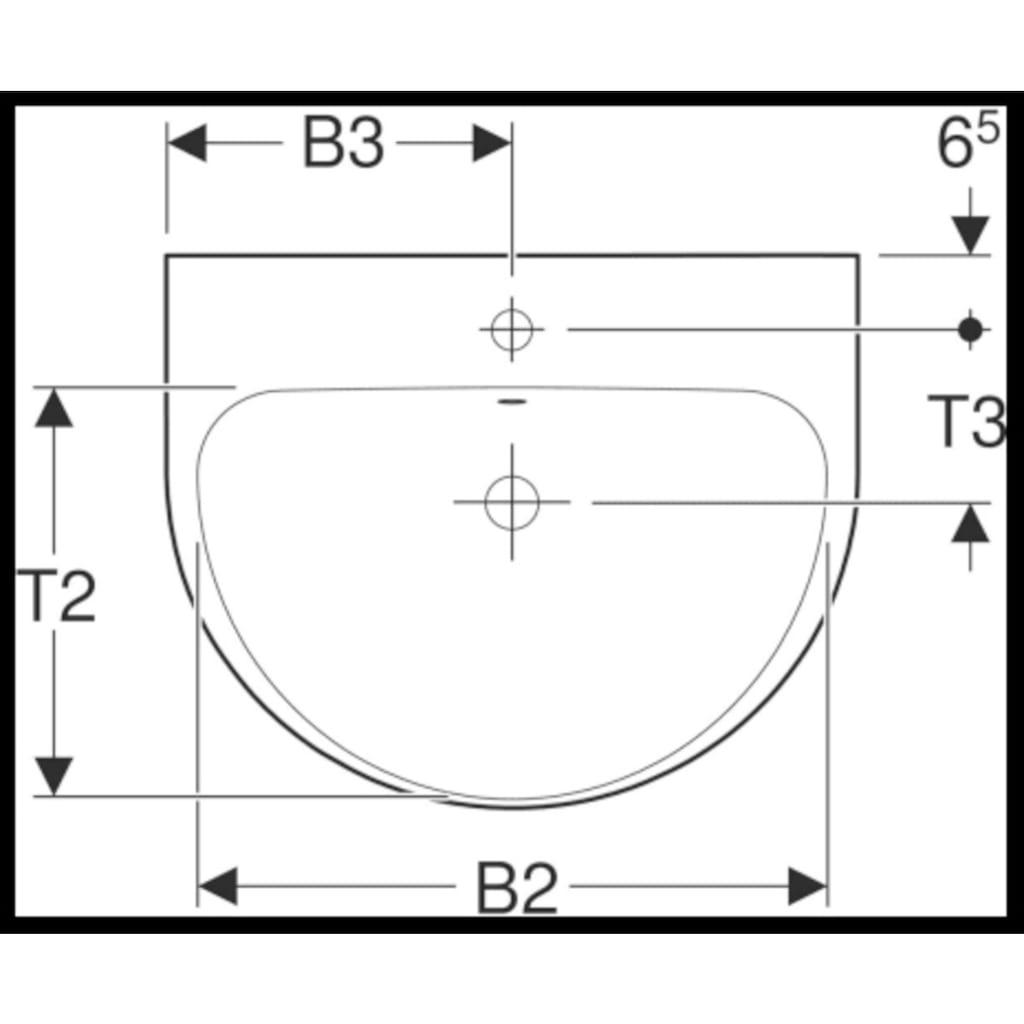 GEBERIT Waschtisch »Renova«, BxT: 65x50 cm, mit KeraTect Beschichtung