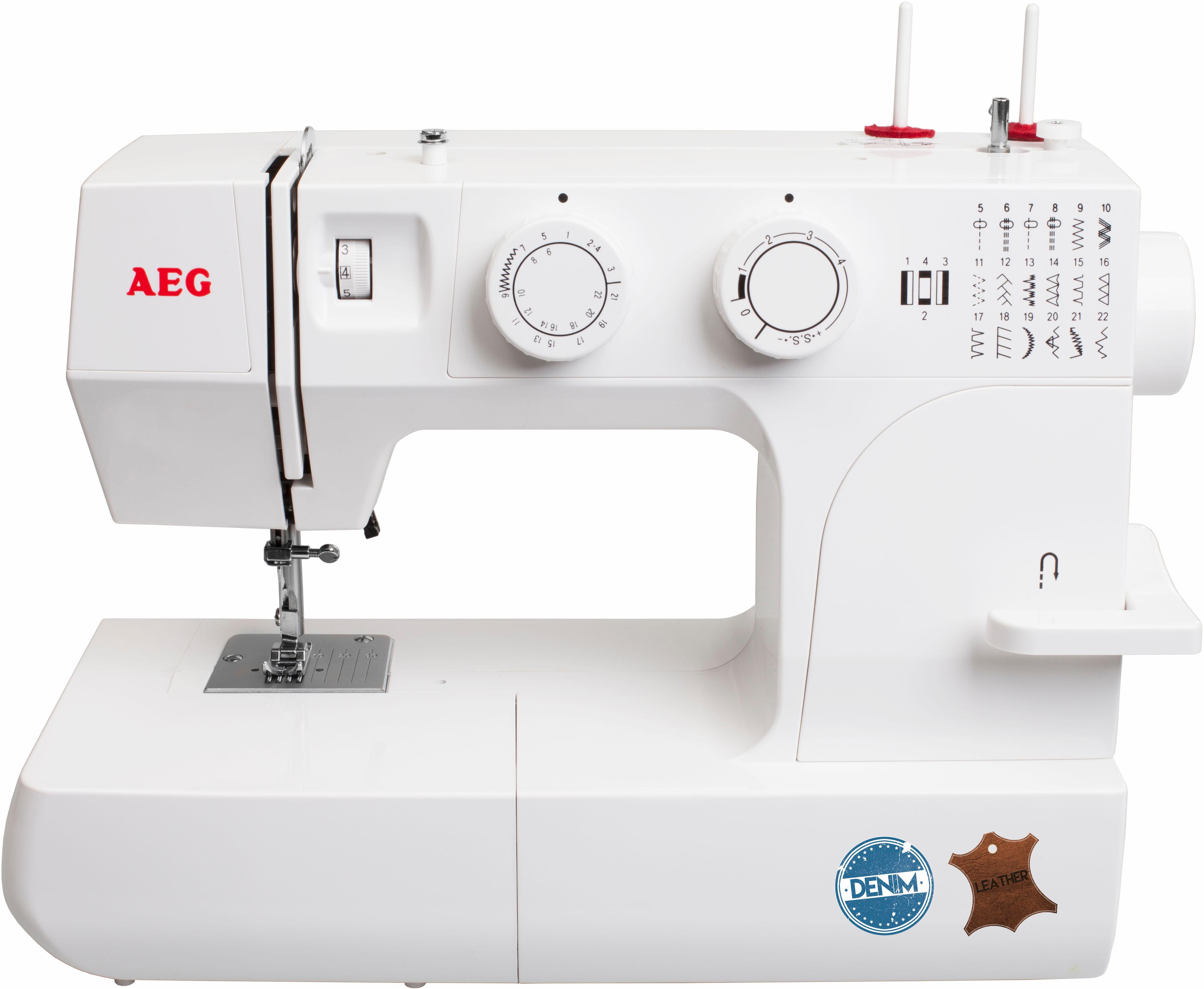 AEG Nähmaschine 15DLK, 22 Nähprogramme | Flur & Diele > Haushaltsgeräte > Strick und Nähmaschinen | Weiß | Denim - Leder | AEG