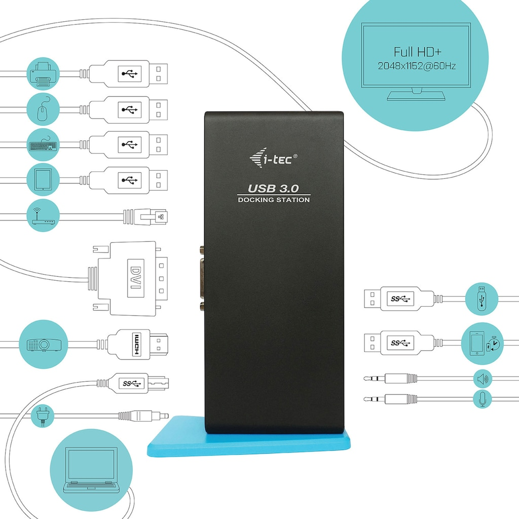I-TEC Laptop-Dockingstation »HDMI DVI Full HD+2048x1152+USB Charging Port«, USB 3.0 Dual Docking Station