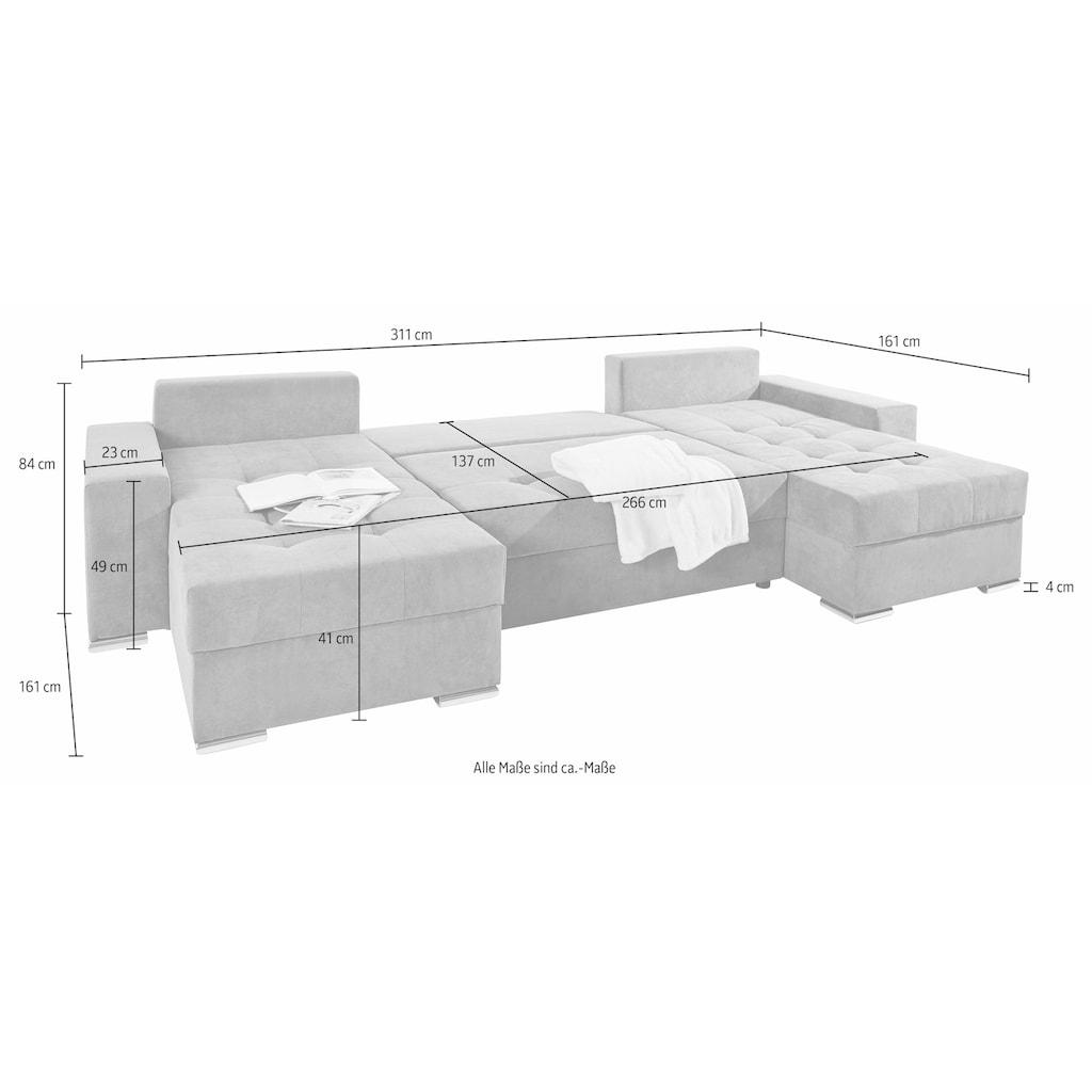 COLLECTION AB Wohnlandschaft, mit Bettfunktion, Bettkasten und Federkern, inklusive loser Rücken- und Zierkissen, frei im Raum stellbar, Recamiere links oder rechts montierbar