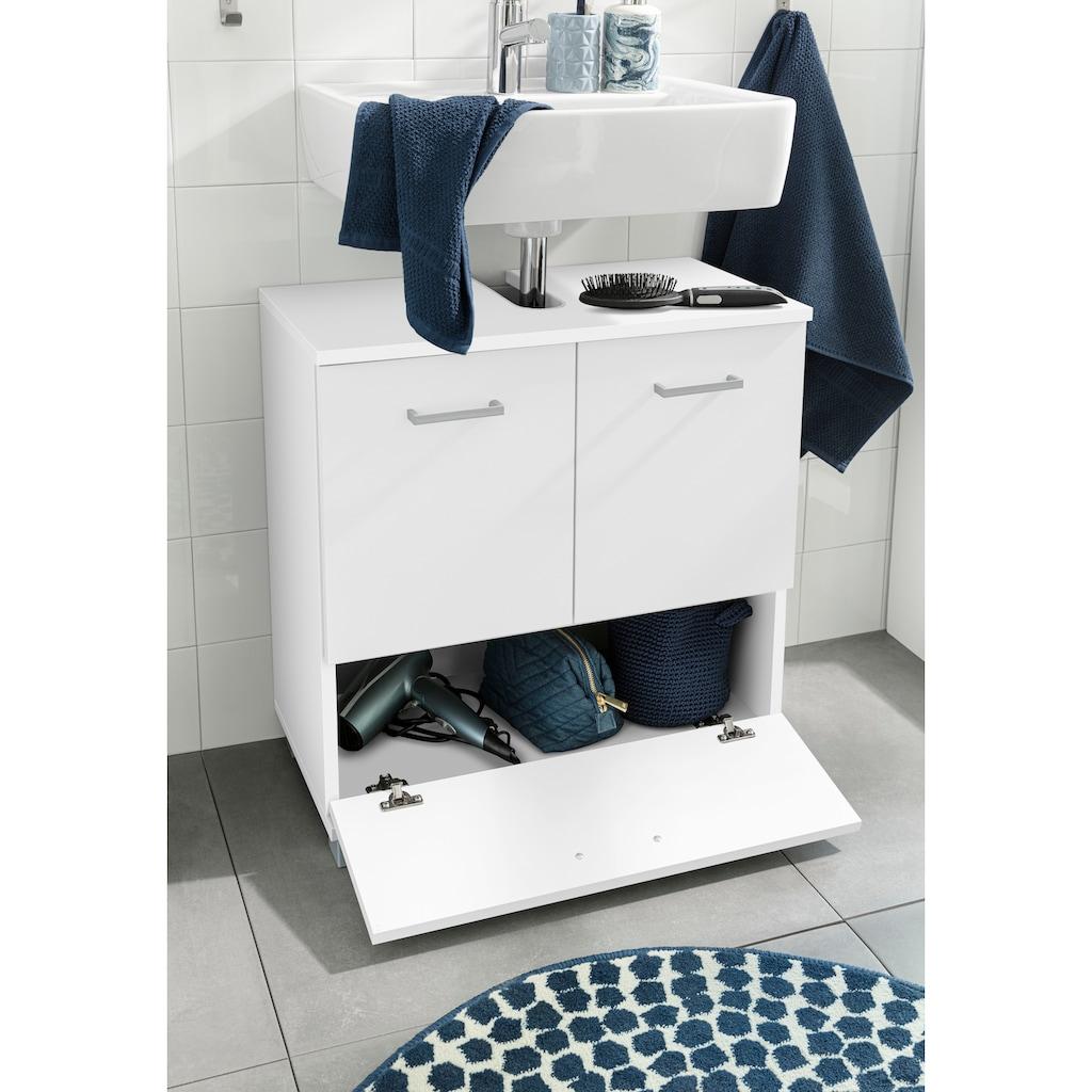 Schildmeyer Waschbeckenunterschrank »Mobes«, Breite/Höhe: 59,8/62,4 cm, Badschrank mit Doppeltür und Klappe, Aussparung für Abwasserleitung