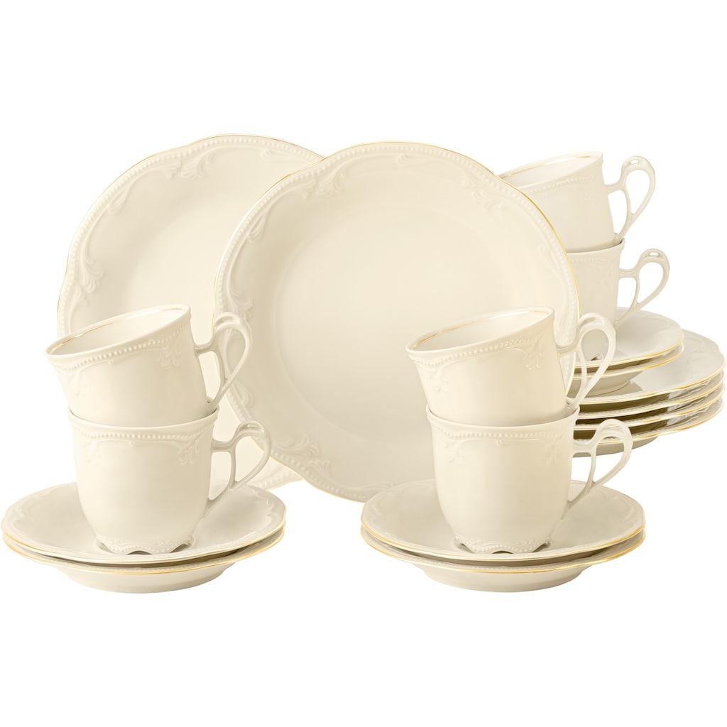 Seltmann Weiden Kaffeeservice »Rubin Goldlinie«, (Set, 18 tlg., 6 x Rubin Kaffeetasse 0,21 l cream 6 x Rubin Untertasse zur Kaffeetasse 14,5 cm cream 6 x Rubin Frühstücksteller 20 cm Coup cream), in zeitlos, verspielter Form