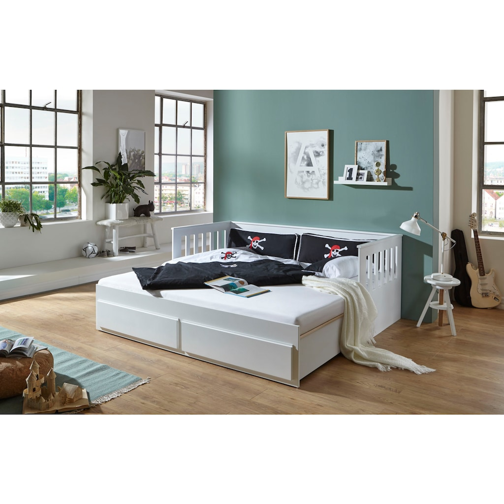 Relita Funktionsbett »Kick«, mit 2 Schubladen, Liegefläche ausziehbar