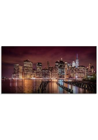 Artland Glasbild »New York City Impression bei Nacht«, Amerika, (1 St.) kaufen