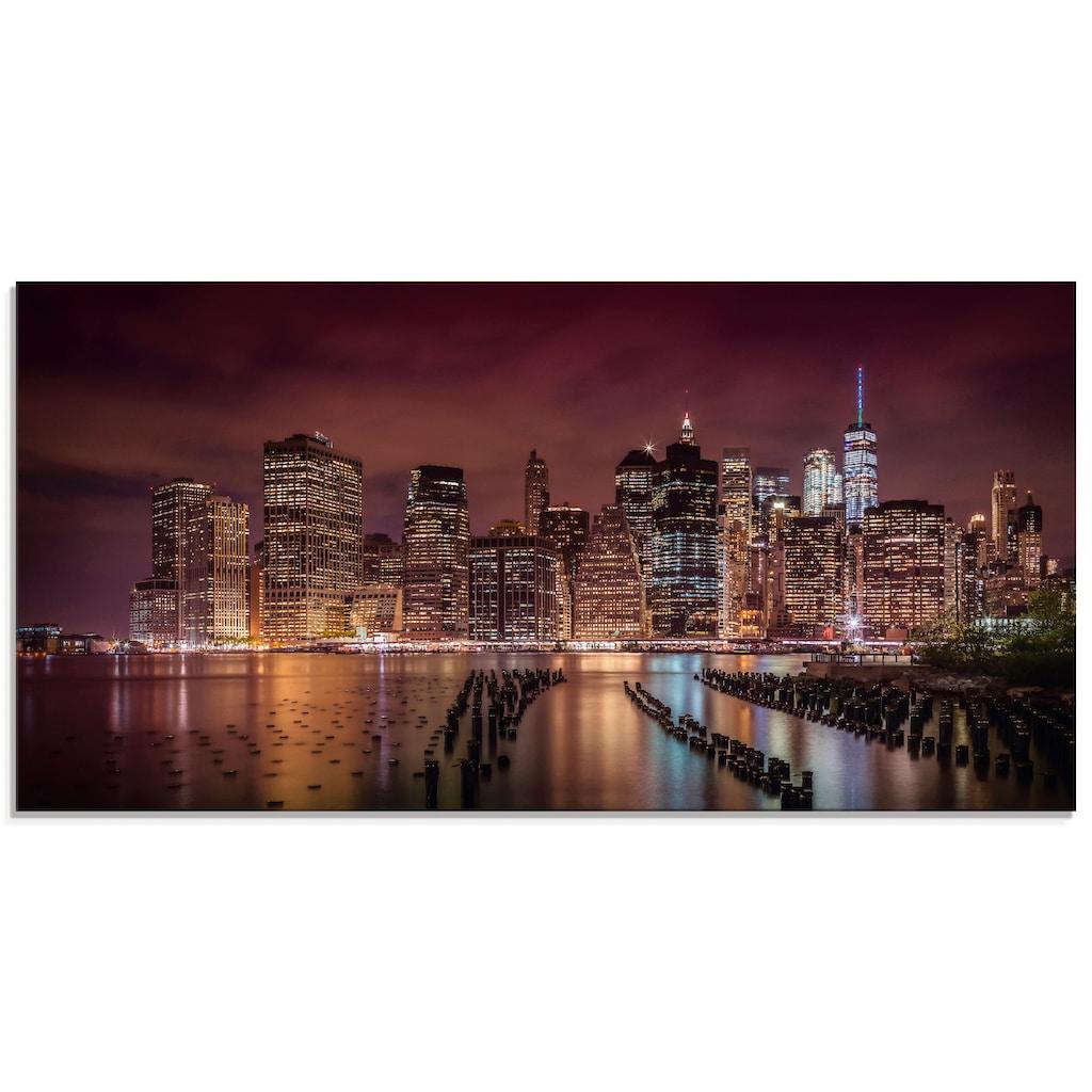 Artland Glasbild »New York City Impression bei Nacht«, Amerika, (1 St.)