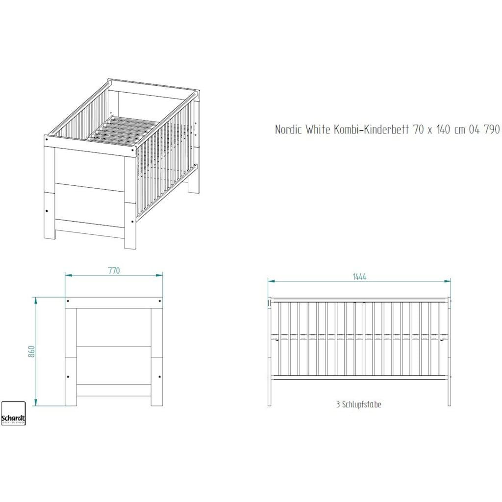 Schardt Babymöbel-Set »Nordic White«, (Spar-Set, 2 St.), mit Kinderbett und Wickelkommode; Made in Germany