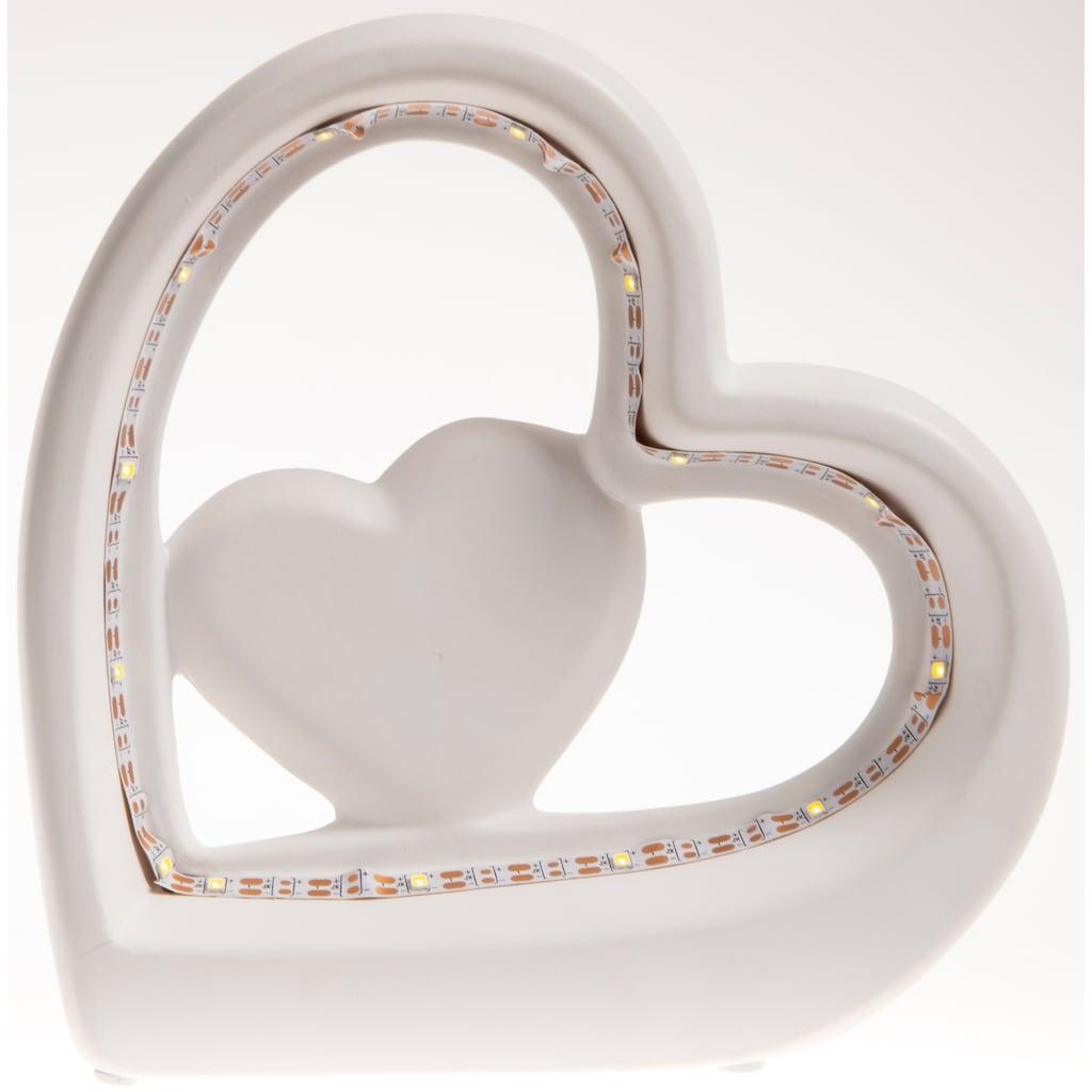 VALENTINO Wohnideen LED Dekoobjekt »Herz Elara«, 1 St., Warmweiß, Höhe ca. 16,5 cm