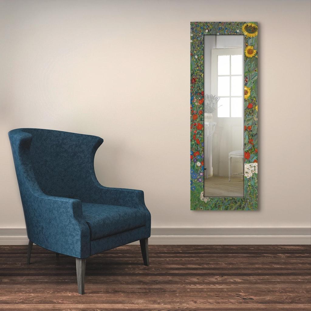 Artland Wandspiegel »Garten mit Sonnenblumen«, gerahmter Ganzkörperspiegel mit Motivrahmen, geeignet für kleinen, schmalen Flur, Flurspiegel, Mirror Spiegel gerahmt zum Aufhängen