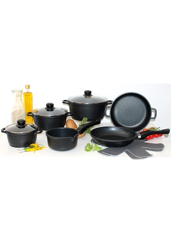 Elo  -  Meine Küche Topf - Set (Set, 10 - tlg., 4 Töpfe, 3, Deckel, 2 Pfannen, 1 Paar Pfannenschoner) kaufen