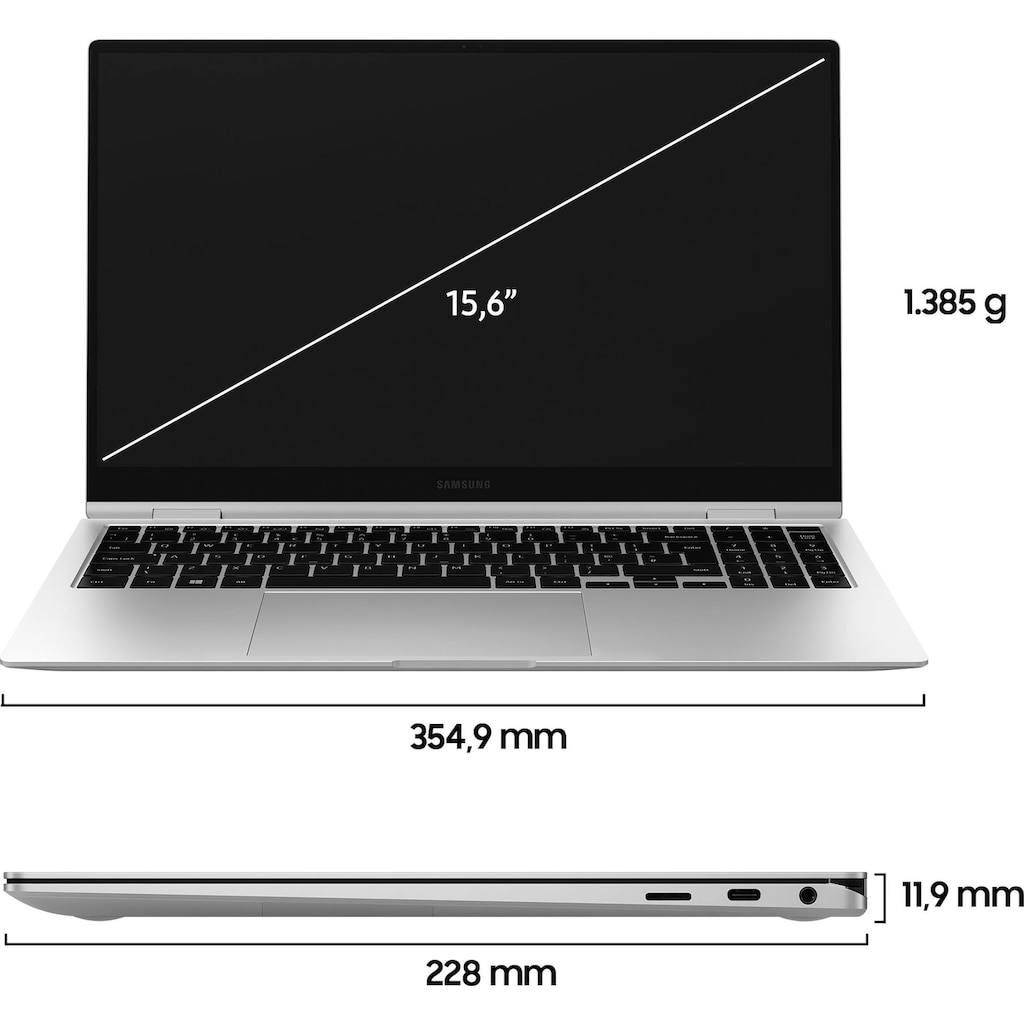"Samsung Convertible Notebook »Galaxy Book Pro 360«, (39,62 cm/15,6 "" Intel Core i7 Iris© Xe Graphics\r\n 512 GB SSD), Kostenloses Upgrade auf Windows 11, sobald verfügbar"