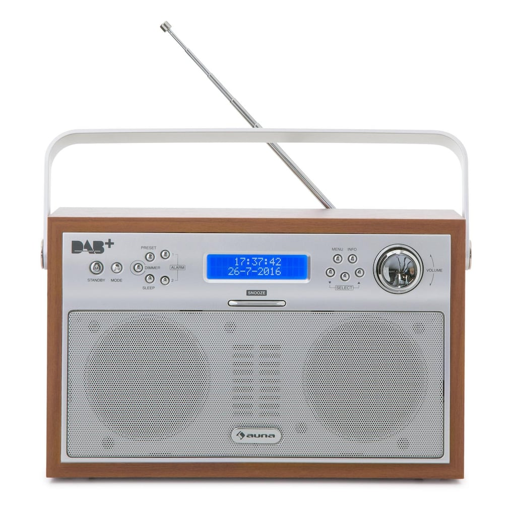 Auna Digitalradio portabel DAB+/PLL-UKW Radio Alarm LCD