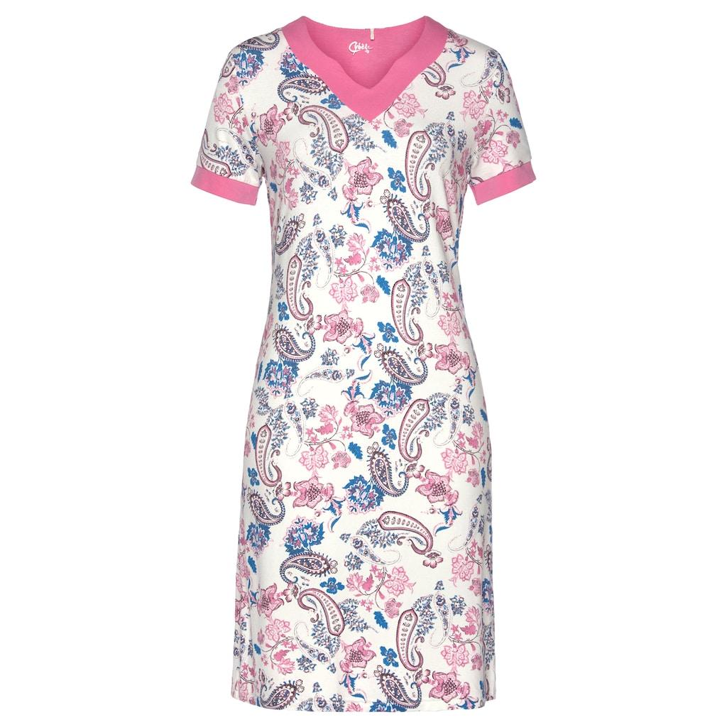 Cybèle Nachthemd, mit Kontrastblende an Ärmeln und V-Ausschnitt