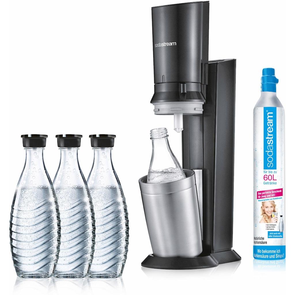 SodaStream Wassersprudler »CRYSTAL 2.0 titan«, (Set, 5 tlg., 1 Wassersprudler, 3 Glaskaraffe, 1 Zylinder)