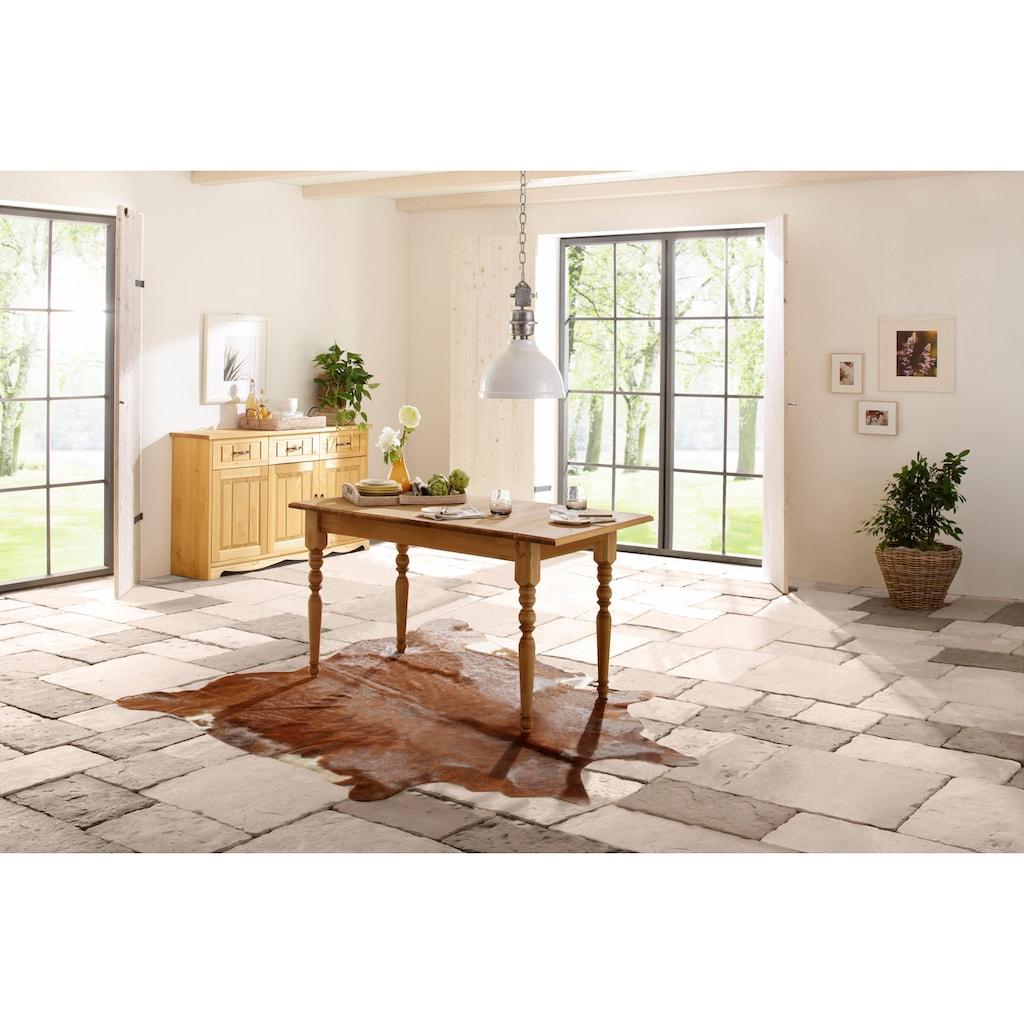 Home affaire Esstisch »Merida«, aus schönem massivem Kiefernholz, in unterschiedlichen Tischbreiten erhältlich, mit und ohne Auszug auswählbar