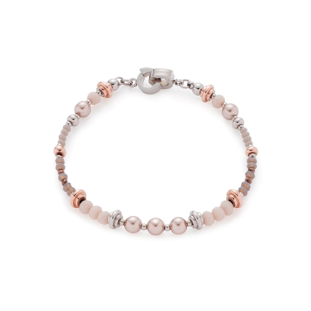 LEONARDO Edelstahlarmband »Clea Darlin's, 016968«, mit Glassteinen und imit. Perlen