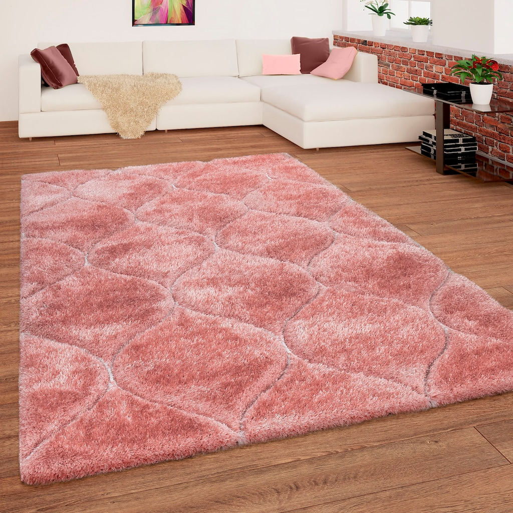 Paco Home Hochflor-Teppich »Palma 333«, rechteckig, 45 mm Höhe, Hochflor-Shaggy mit 3D-Muster