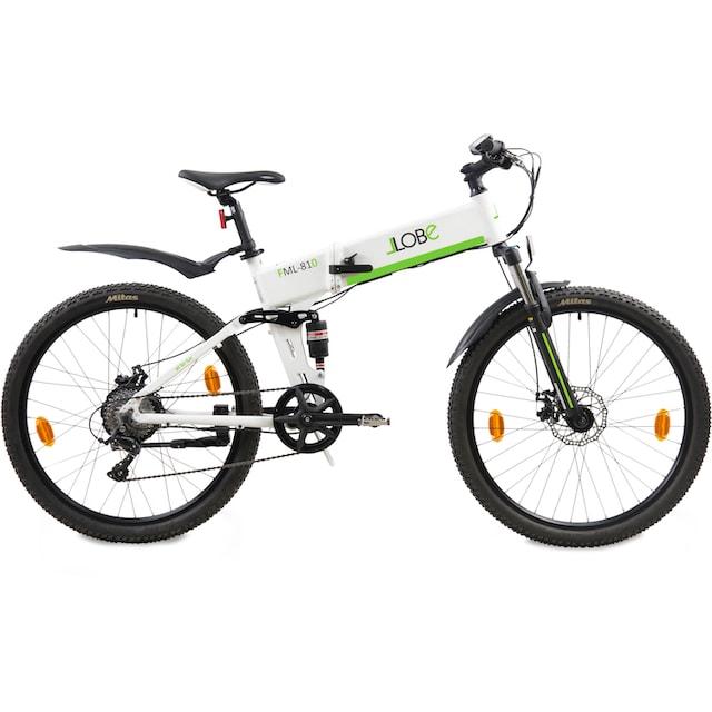 LLobe E-Bike »FML-810 weiß«, 9 Gang Shimano Kettenschaltung, Heckmotor 250 W