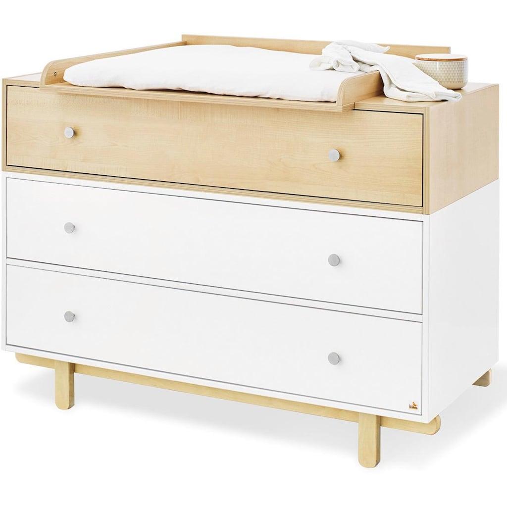 Pinolino® Babyzimmer-Komplettset »Boks«, (Set, 3 St.), 2-trg. breit groß; mit Kinderbett, Schrank und Wickelkommode; Made in Europe