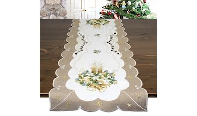 Delindo Lifestyle Tischläufer »KERZE & GLOCKE«, (1 St.), Glattes Gewebe, bestickt kaufen