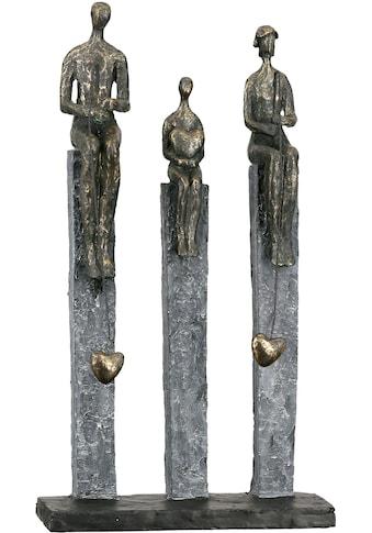 Casablanca by Gilde Dekofigur »Skulptur Fishing, bronzefarben«, Dekoobjekt, Höhe 41, Angler auf Pfählen, mit Spruchanhänger, Wohnzimmer kaufen