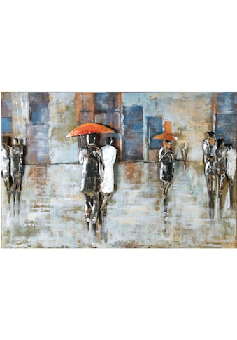 GILDE GALLERY Metallbild »Kunstobjekt Rainy Day«, Menschen, (1 St.), handgearbeitetes Bild, 120x80 cm, aus Metall, Wohnzimmer kaufen
