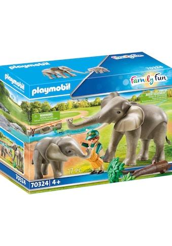 "Playmobil® Konstruktions - Spielset ""Elefanten im Freigehege (70324), Family Fun"", Kunststoff kaufen"