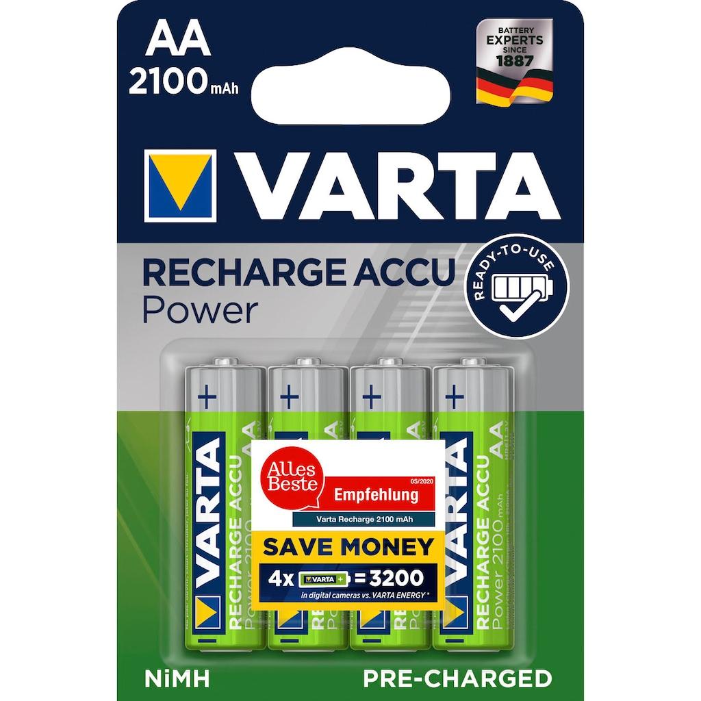 VARTA Batterie »VARTA RECHARGE ACCU Power Vorgeladener AA Mignon NiMH Akku (4er Pack, 2100mAh) - Wiederaufladbar ohne Memory-Effekt - Ready to Use Technologie«, 1,2 V, (4 St.)