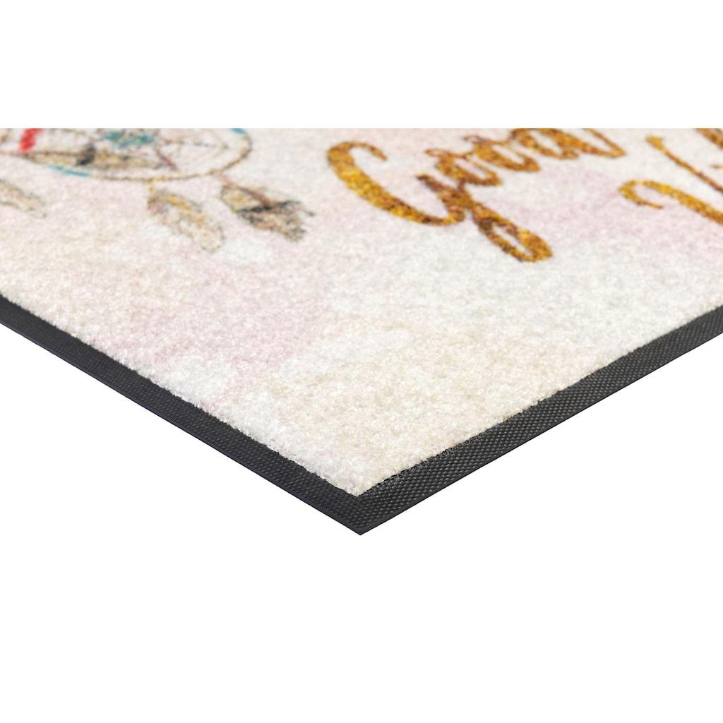 wash+dry by Kleen-Tex Fußmatte »Good Vibes«, rechteckig, 7 mm Höhe, Schmutzfangmatte, mit Spruch, In- und Outdoor geeignet, waschbar