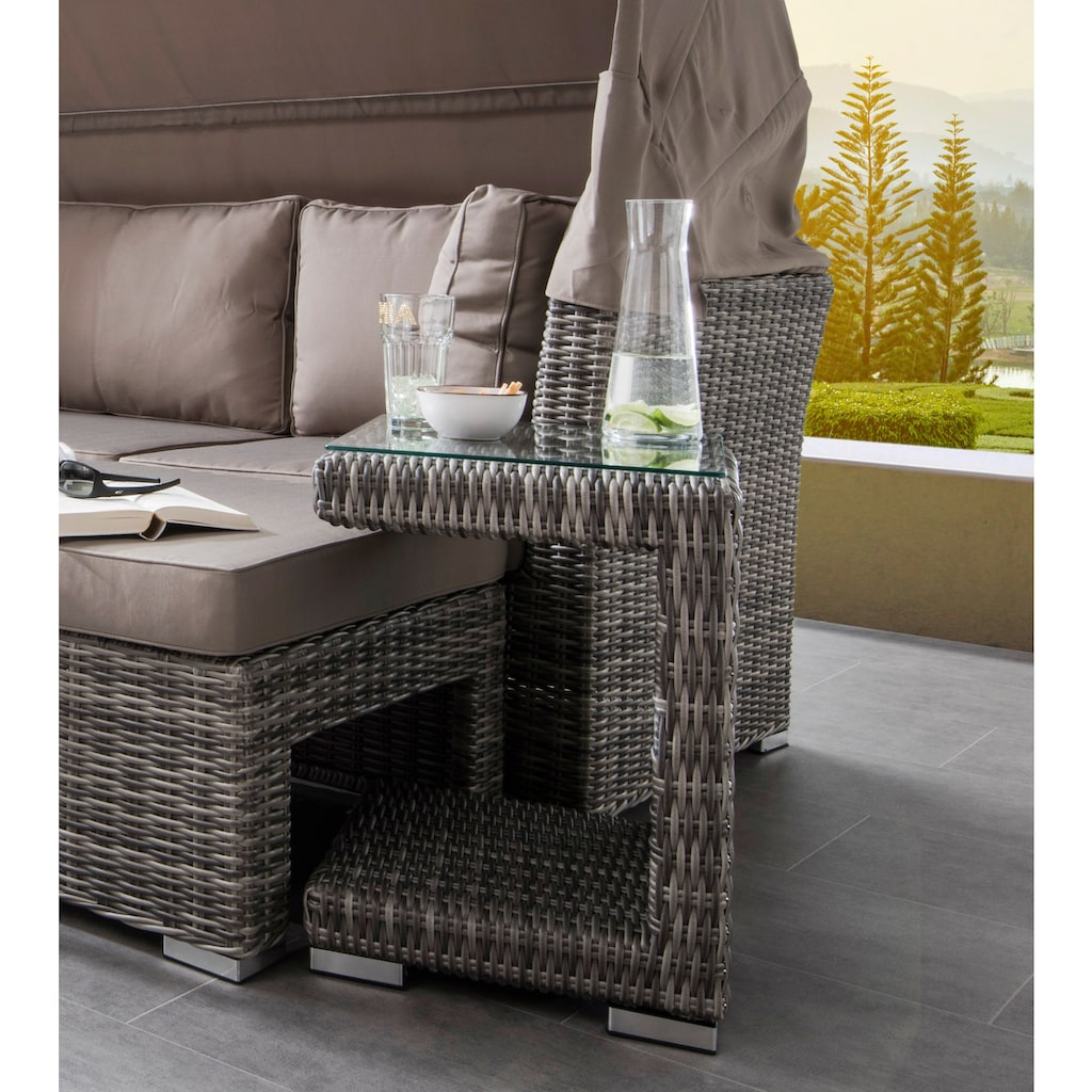 Destiny Loungeset »BAHIA«, (Set, 5 tlg.), Sofa mit klappbarem Verdeck, Polyrattan