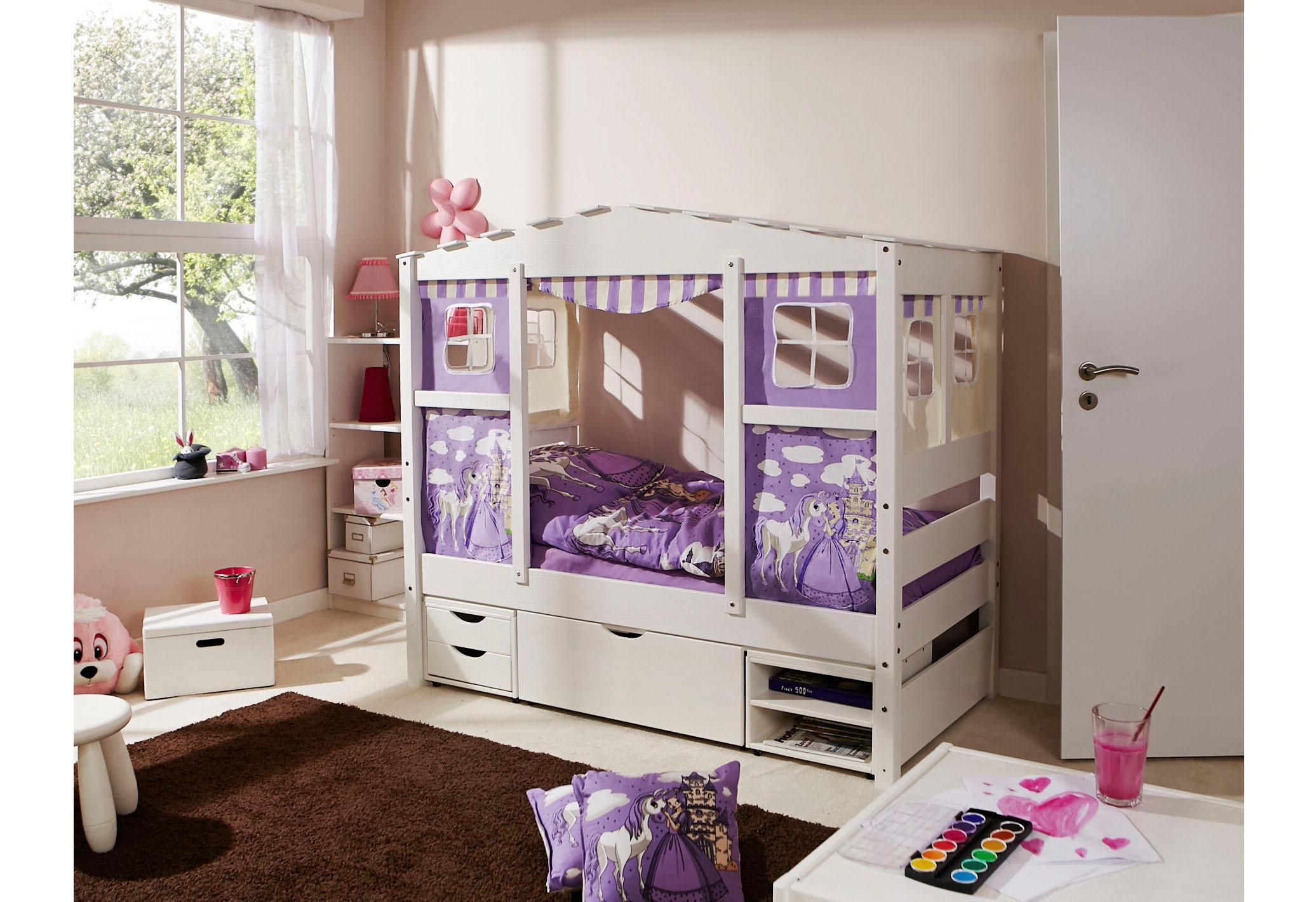 Ticaa Kinderbett in Hausoptik »Lio« aus massiver Kiefer, Liegefläche 80x160 cm | Kinderzimmer > Kinderbetten > Kinderbetten | Lila | Textil - Kiefer | TICAA