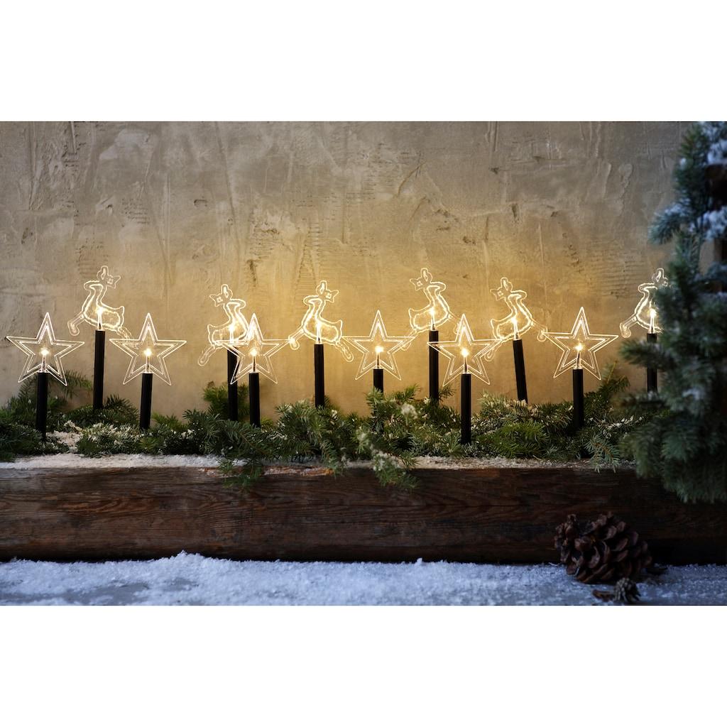 LED Gartenleuchte »Leuchtstab Rentier«, Warmweiß, mit 12 Erdspießen