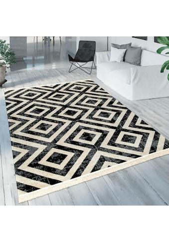 Paco Home Teppich »Poco 821«, rechteckig, 7 mm Höhe, Rauten Design, mit Fransen, In-... kaufen