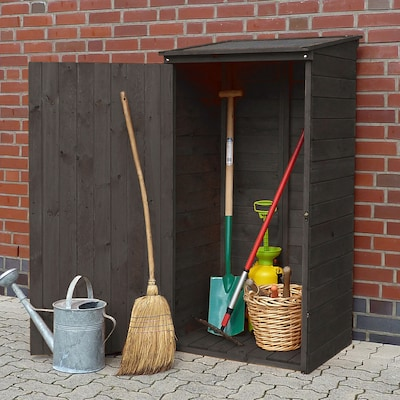 Geräteschuppen aus dunkelbraunem Holz
