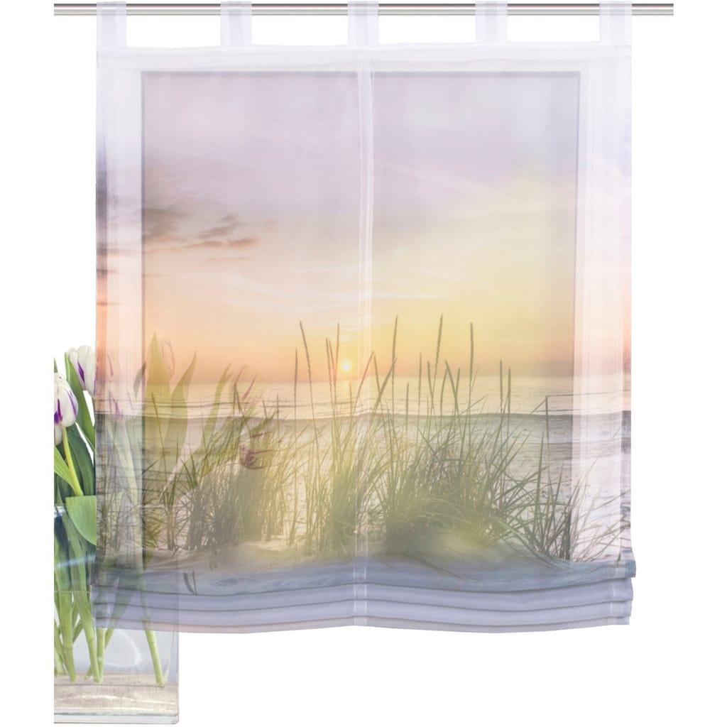 HOME WOHNIDEEN Raffrollo »EVENING«, mit Schlaufen, freihängend, Digitaldruck