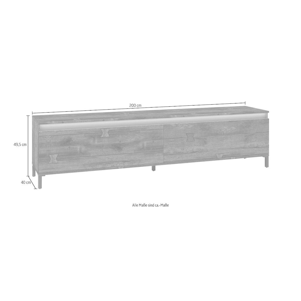 KITALY Lowboard »Genio Industrial«, Mit wendbare Blende in weiß/ anthrazit, breite 200 cm