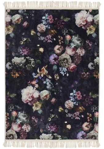 Essenza Teppich »Fleur«, rechteckig, 6 mm Höhe, sehr weicher Flor, mit Fransen, Blumen... kaufen