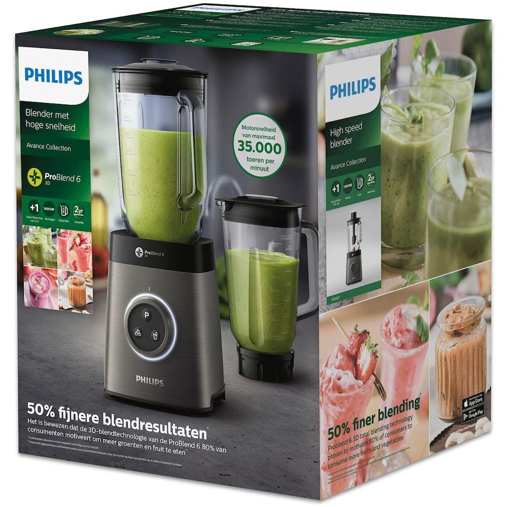 Philips Standmixer »HR3657/90«, 1400 W, 35.000 Umdrehungen/Min., 2,0L Mixbehälter (Glas), Ice-Crush Funktion, zusätzlicher Mixbehälter)