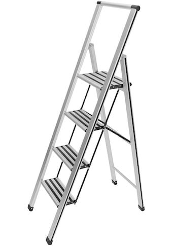 WENKO Trittleiter, 4-stufig, Aluminium, XXL-Stufen, flach klappbar kaufen